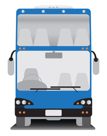 front wheel drive: Front view of Double deck  touring bus Illustration