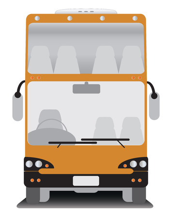 touring: Front view of Double deck  touring bus Illustration