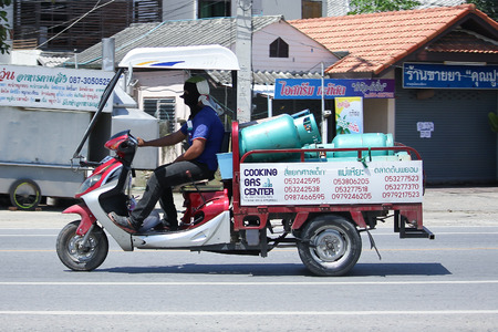 CHIANGMAI, THAILAND -JULY 27 2016:  Motorcycle for delivery gas lpg to home of Champ Company.   On road no.1001, 8 km from Chiangmai Business Area.