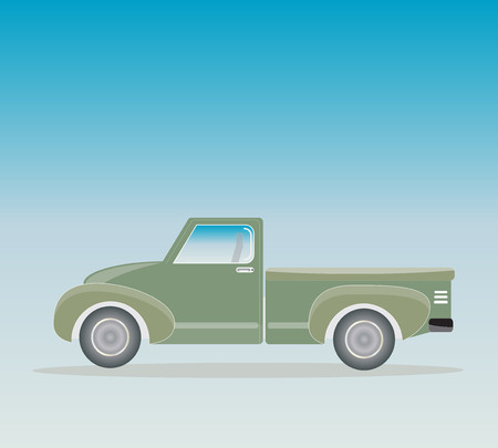 Side view of Old Pick up  Truck with Blue sky background Illustration