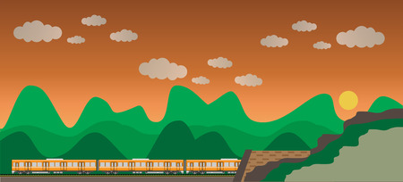 railcar: Diesel Railcar train and tunnel with sky background