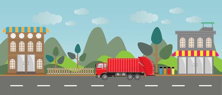 garbage truck: garbage truck on city background