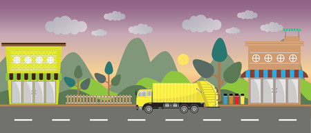 garbage truck on city background