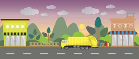 camion à ordures sur la ville de fond
