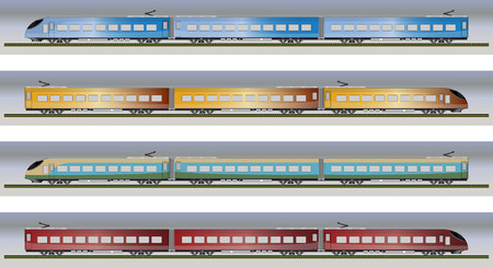high speed: Set of High speed train vector illustration