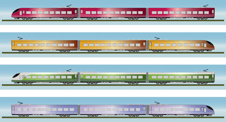 the high speed train: Set of High speed train vector illustration
