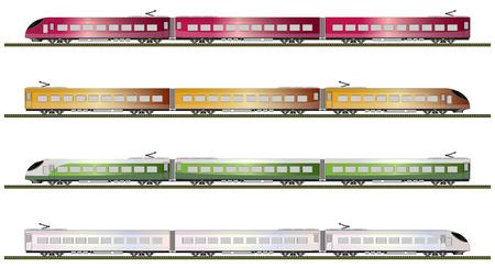 Set of High speed train vector illustration