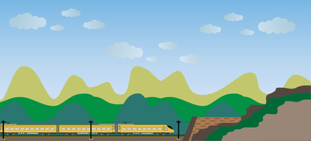 high speed: High speed train with mountain view background Illustration