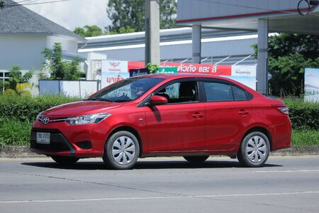 CHIANGMAI, THAILAND -JULY 27 2016:  Private car, Toyota Vios.   On road no.1001, 8 km from Chiangmai Business Area.