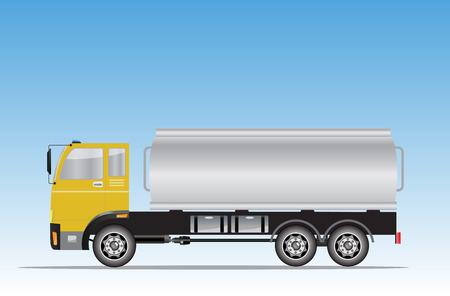 tanker: Side view of Big Oil Tanker truck Vector Illustration