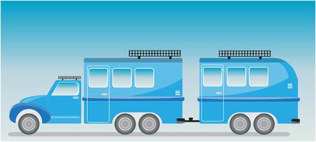 Old truck and Camping Caravan car  Vector Illustration Illustration