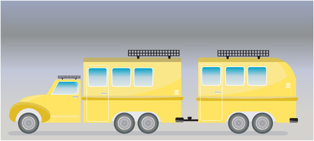 old truck: Old truck and Camping Caravan car  Vector Illustration Illustration