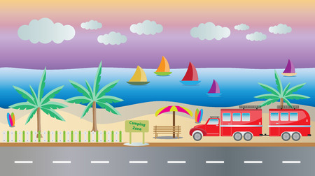 camper: Truck and Camping Caravan car with Seascape background Vector Illustration
