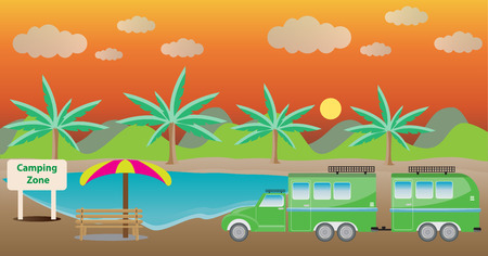 camper: Truck and Camping Caravan car with Lake Landscape background Vector Illustration