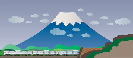 railcar: Diesel Railcar train and tunnel with Big Mountain background Illustration