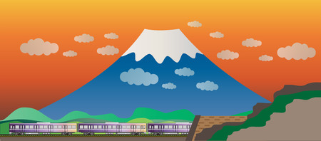 Diesel Railcar train and tunnel with Big Mountain background Illustration