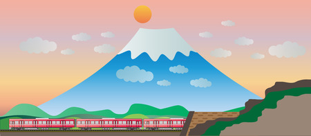 diesel train: Diesel Railcar train and tunnel with Big Mountain background Illustration