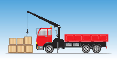 Side view of  Crane  truck Vector Illustration