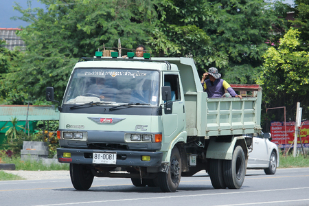 truckload: CHIANGMAI, THAILAND -AUGUST 9 2016:  Private Hino dump truck.     On road no.1001, 8 km from Chiangmai Business Area. Editorial