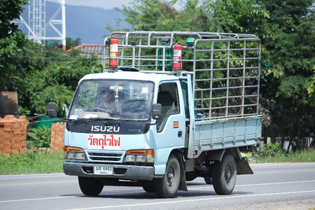 ngv: CHIANGMAI, THAILAND -AUGUST 9 2016:   Gas truck of Unique PTT company.  On road no.1001, 8 km from Chiangmai Business Area. Editorial