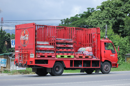 CHIANGMAI, THAILAND -AUGUST 9 2016:  Coca Cola Truck,Coke Product.  On road no.1001, 8 km from Chiangmai Business Area.