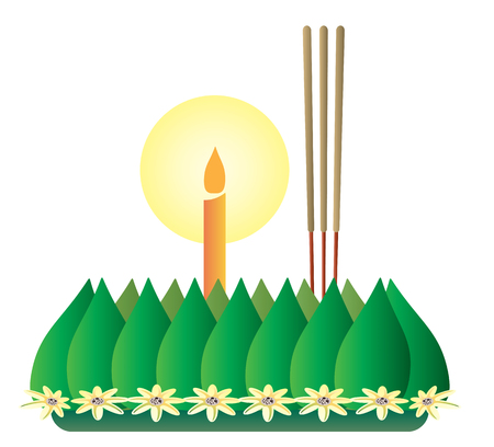 loy krathong: Loy Krathong, Thai full moon traditional festival, illustration vector