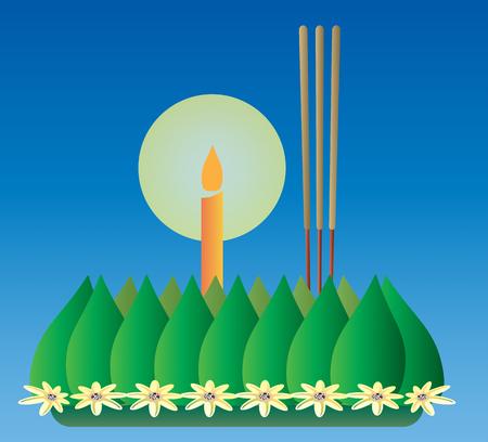 Loy Krathong, Thai full moon traditional festival, illustration vector