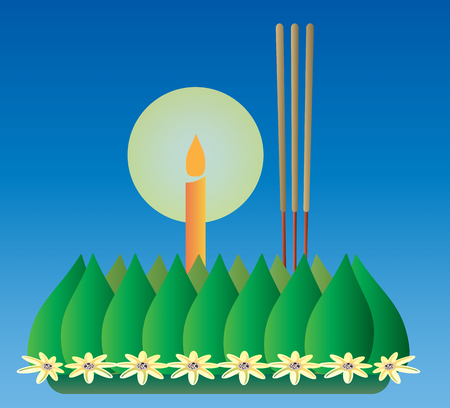 Loy Krathong, Thai full moon traditional festival, illustration vector