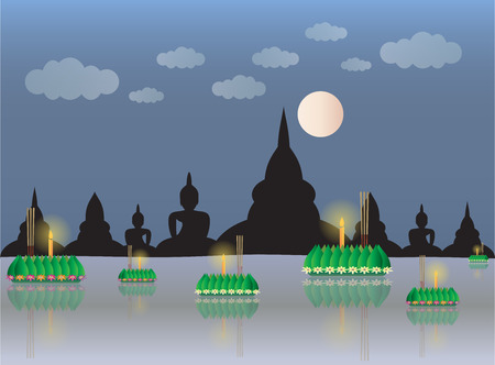 Loy Krathong with temple backgrond, Thai full moon traditional festival, illustration vector