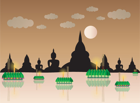 loy: Loy Krathong with temple backgrond, Thai full moon traditional festival, illustration vector