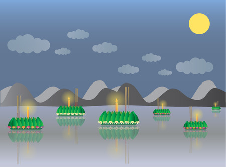 Loy Krathong with Mountain, Thai full moon traditional festival, illustration vector