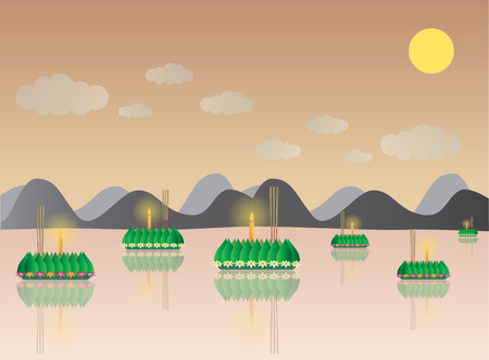krathong: Loy Krathong with Mountain, Thai full moon traditional festival, illustration vector