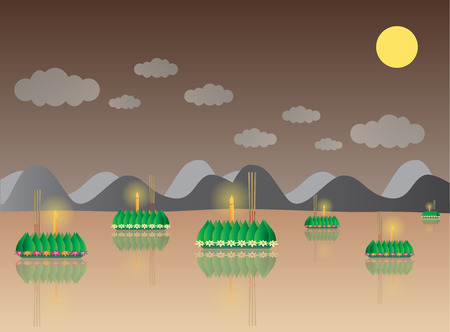 loy krathong: Loy Krathong with Mountain, Thai full moon traditional festival, illustration vector