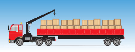 Side view of Trailer Cargo Truck with Crane  Vector Illustration