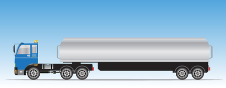Side view of trailer of Big Oil Tanker truck Illustration