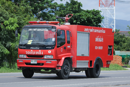 CHIANGMAI, THAILAND -AUGUST 9 2016: Fire truck of Nongjom Subdistrict Administrative Organization.  On road no.1001, 8 km from Chiangmai Business Area.