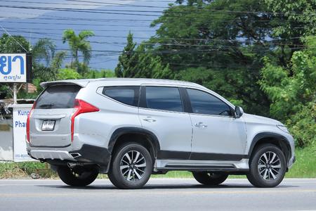 the jeep: CHIANGMAI, THAILAND -AUGUST 9 2016:  Mitsubishi Pajero Suv Car.   On road no.1001, 8 km from Chiangmai Business Area.