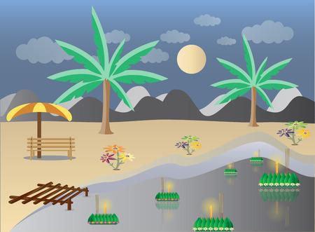 loy krathong: Loy Krathong in Lake landscape, Thai full moon traditional festival, illustration vector