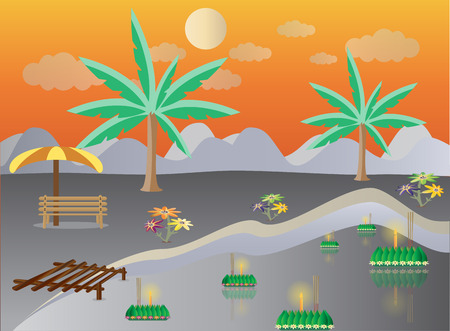 Loy Krathong in Lake landscape, Thai full moon traditional festival, illustration vector