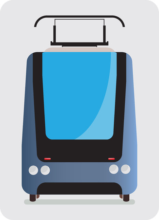 streetcar: Front view of Tram car or trolley car flat design Vector Illustration