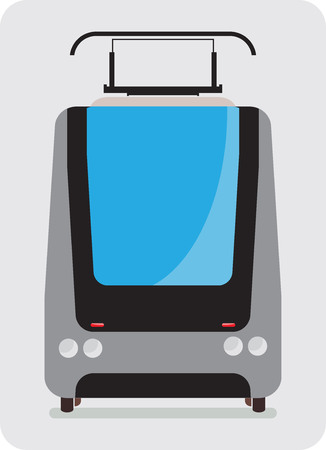 hand rails: Front view of Tram car or trolley car flat design Vector Illustration