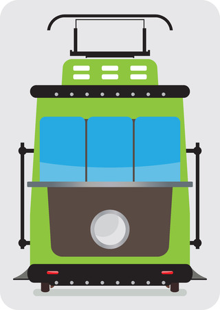 hand rails: Front view of Retro Tram car or trolley car flat design Vector Illustration