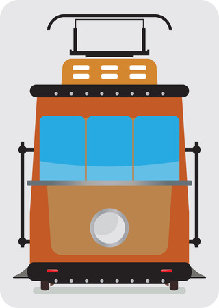 Front view of Retro Tram car or trolley car flat design Vector Illustration