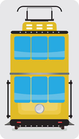 tramcar: Front view of Double Deck Retro Tram car or trolley car flat design Vector Illustration