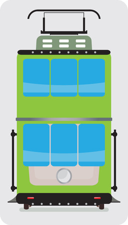 streetcar: Front view of Double Deck Retro Tram car or trolley car flat design Vector Illustration