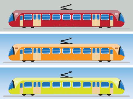 tramcar: Side view of Tram car or trolley car flat design Vector Illustration