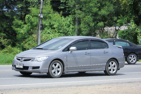 civic: CHIANGMAI, THAILAND -AUGUST 9 2016: Private car, Honda Civic.  On road no.1001, 8 km from Chiangmai Business Area.