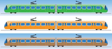 Side view of Tram car or trolley car flat design Vector Illustration