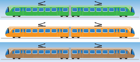 Side view of Tram car or trolley car flat design Vector Illustration