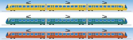 hand rails: Side view of Tram car or trolley car flat design Vector Illustration